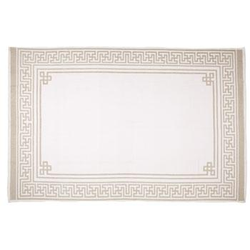 Cotton Jigsaw Beige Greek Key Border Rug