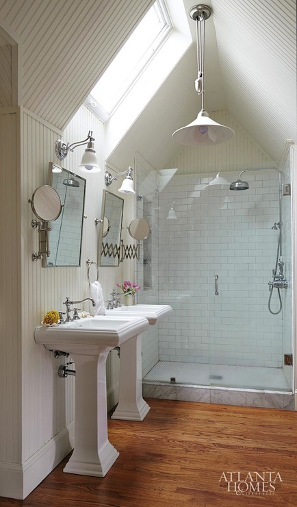 Attic bathroom ideas cottage bathroom atlanta homes for Small bathroom high ceiling