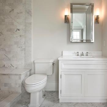 Carrera Marble Tile Shower, Transitional, bathroom, The Guberman Group