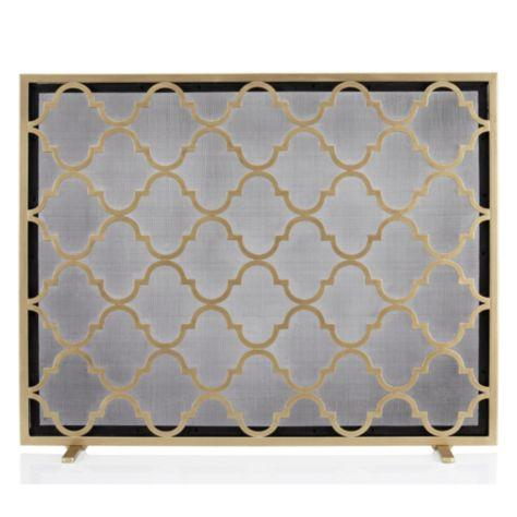 Meridian quatrefoil gold fireplace screen Decorative fireplace screens