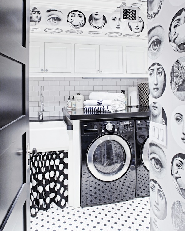 Black And White Laundry Room Contemporary Laundry Room Berkley