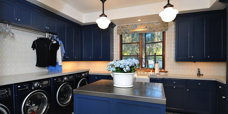 Blue Cabinets Traditional Laundry Room Berkley Vallone