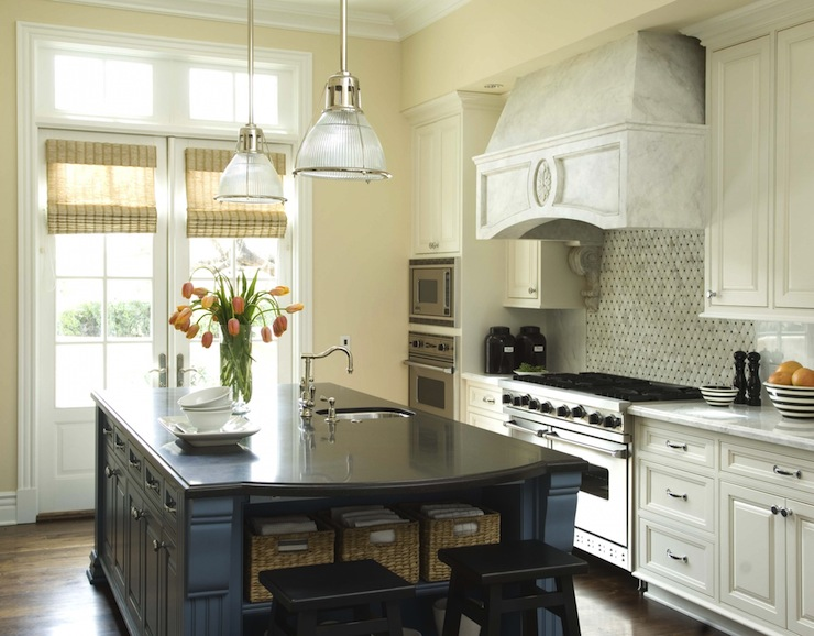 Blue Kitchen Island Transitional Kitchen Berkley Vallone