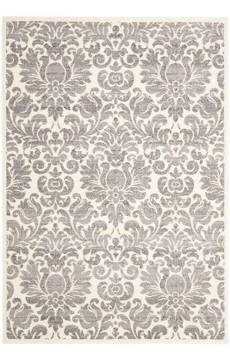 Exceptional Safavieh Porcello Grey And Ivory Damask Rug