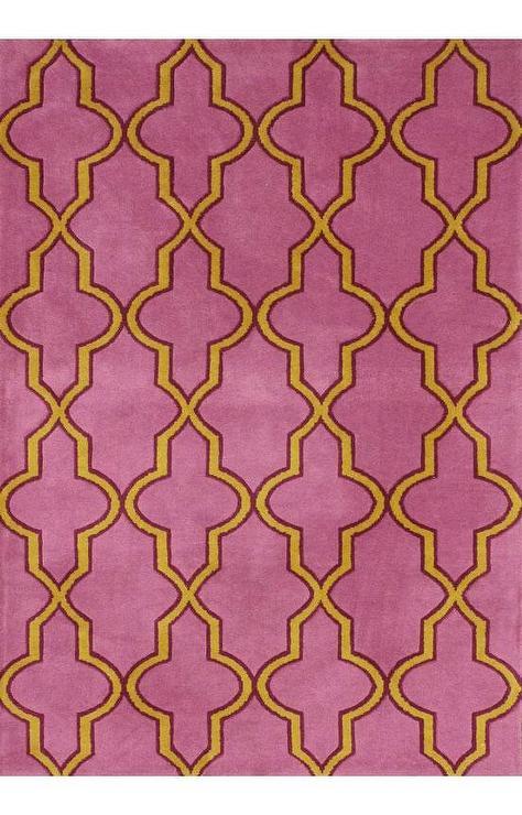 moroccan pink and yellow trellis rug