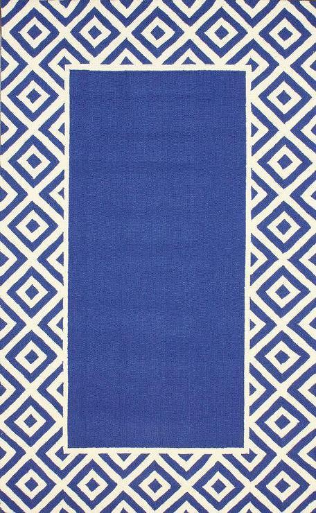 Homespun Border Blue Rug