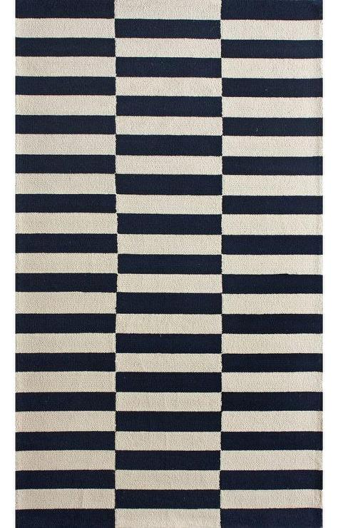 Homespun Navy White Stripe Blocks Rug