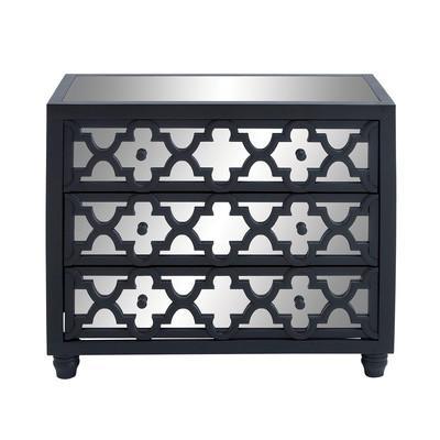 Three Drawer Geometric Mirror Black Cabinet