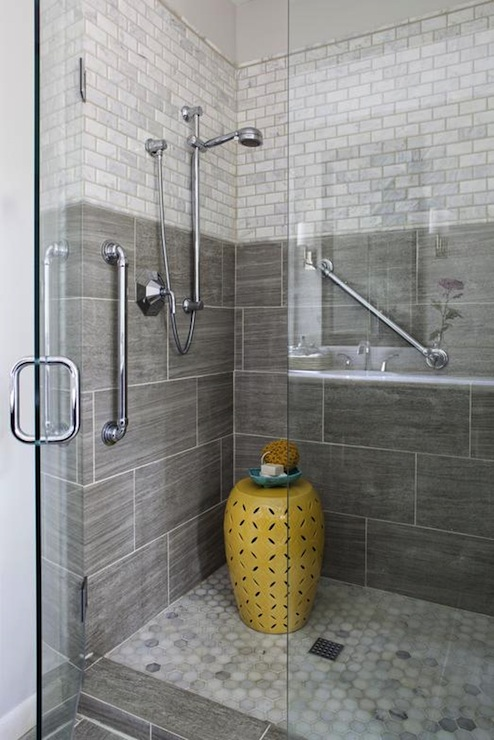 Gray shower tiles contemporary bathroom erin glennon for Bathroom ideas grey tiles