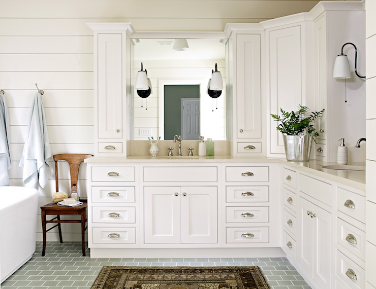 Subway tiled floor cottage bathroom lauren liess for L shaped master bathroom layout