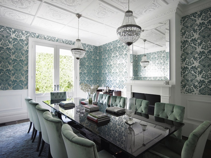 Teal damask wallpaper transitional dining room denai for Wall papers for rooms