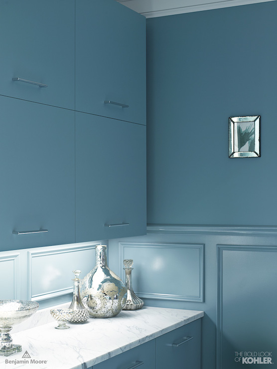 Blue Kitchen Cabinets Contemporary Kitchen Benjamin Moore Province Blue Kohler