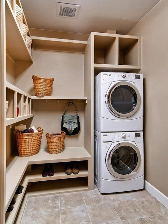 Stacked Washer and Dryer Transitional laundry room HGTV
