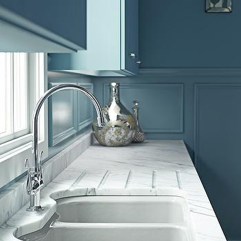 Blue Cabinets, Contemporary, kitchen, Benjamin Moore Province Blue, Kohler