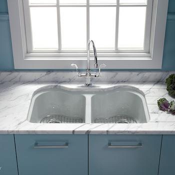 Dual KItchen Sink, Contemporary, kitchen, Benjamin Moore Province Blue, Kohler