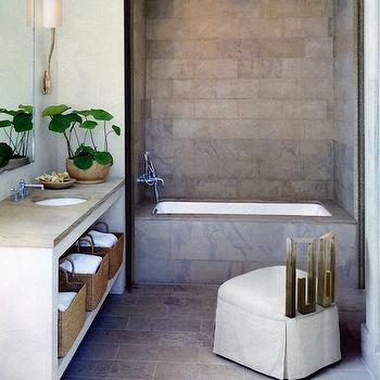 Gray And Gold Bathroom With Encaustic Cement Tile Circulos