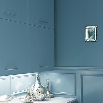 Blue Kitchen Cabinets, Contemporary, kitchen, Benjamin Moore Province Blue, Kohler