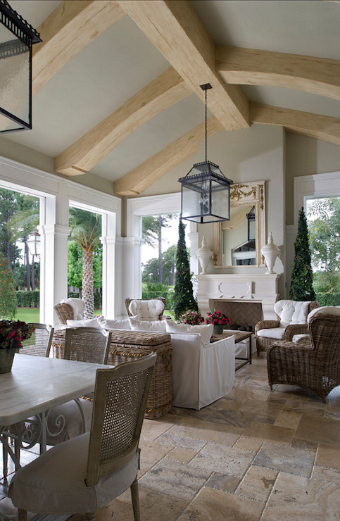Sunroom With Fireplace French Deckpatio Yawn Design