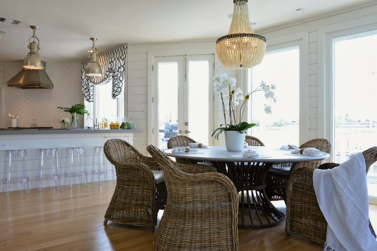 View Full Size Lovely Cottage Dining Room With Currey Company Hedy Chandelier Over Large Round Table