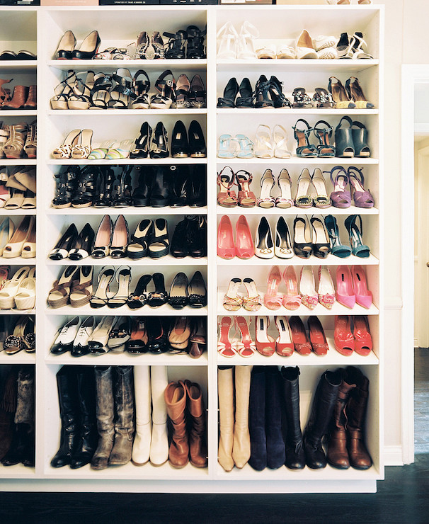 Chic Built In Cabinets Designed Specifically For Shoes And Boots.