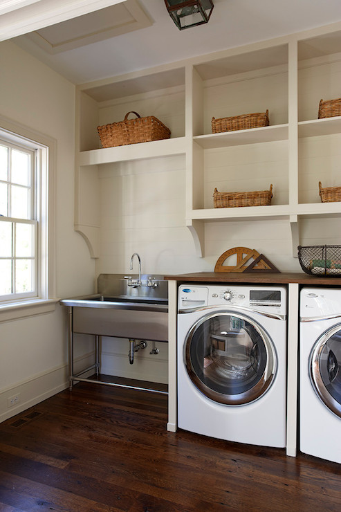 Reclaimed oak countertop cottage laundry room for Decorate a laundry room