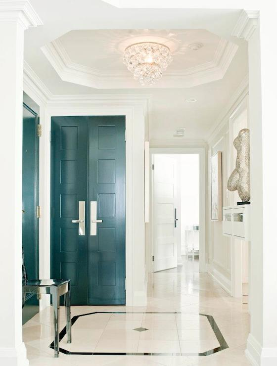 Octagonal Foyer Rug : Peaock blue doors contemporary entrance foyer