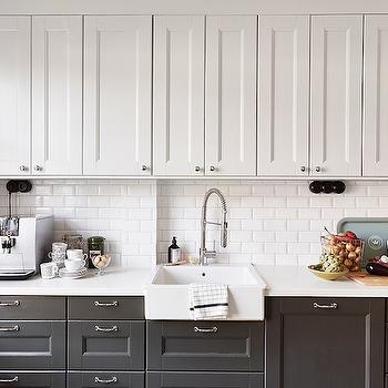 White Upper Cabinets Dark Lower Cabinets