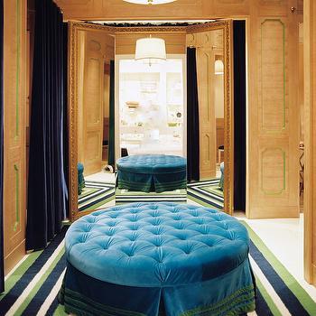 Blue Tufted Ottoman, Eclectic, closet, Lonny Magazine
