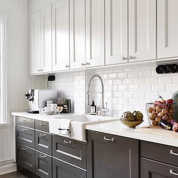 White Upper Cabinets Gray Lower Cabinets Cottage Kitchen