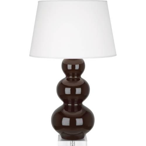 Brown Pedestal Nailhead Trim Lamp Table