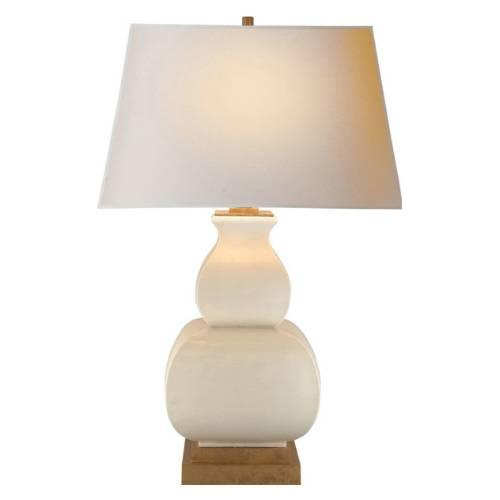 Ivory double gourd crackle ceramic table lamp aloadofball Images