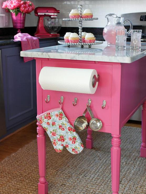 Pink kitchen island eclectic kitchen diy network for Kitchen decoration pink