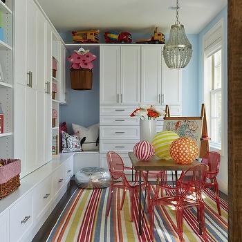 Kids Playroom, Contemporary, girl's room, Benjamin Moore Breath of Fresh Air, Martha O'Hara Interiors