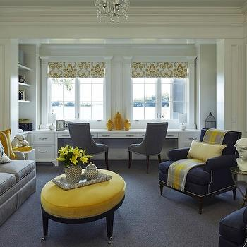 Yellow and Gray Family Room, Transitional, living room, Martha O'Hara Interiors