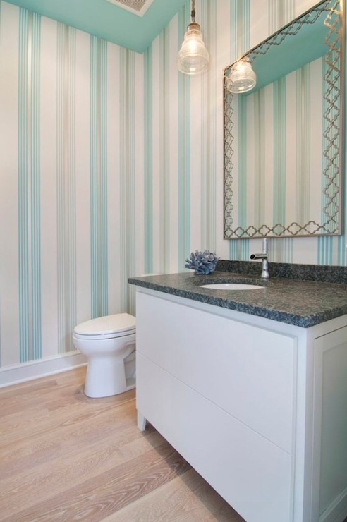 Flocked turquoise wallpaper contemporary bathroom for Gray and turquoise bathroom