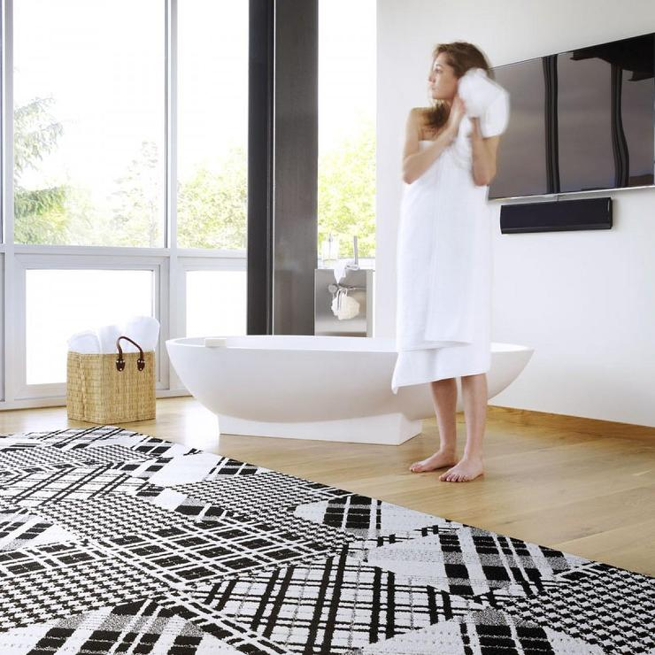 black and bright white plaid patter carpet tile