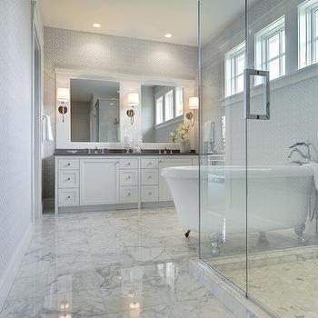 White Marble Tiled Floor, Transitional, bathroom, Martha O'Hara Interiors