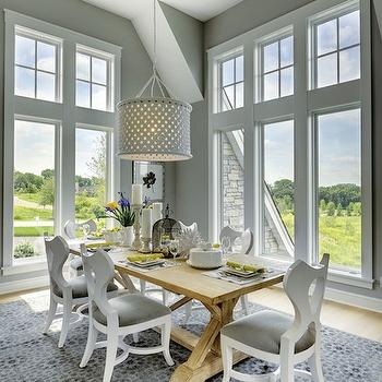 Salvaged Wood Trestle Dining Table, Transitional, dining room, Martha O'Hara Interiors