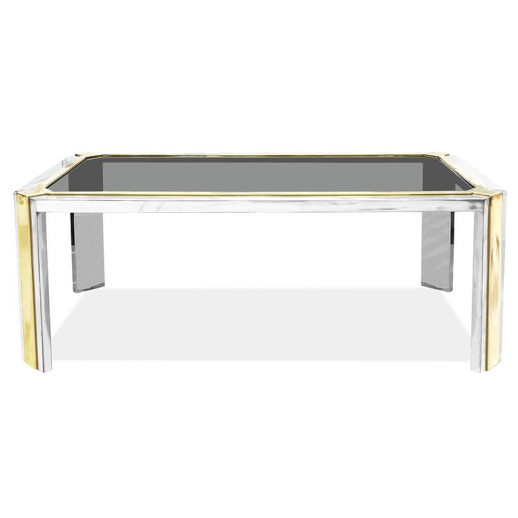 Jonathan Adler Meurice Glass Coffee Table In Polished Nickel