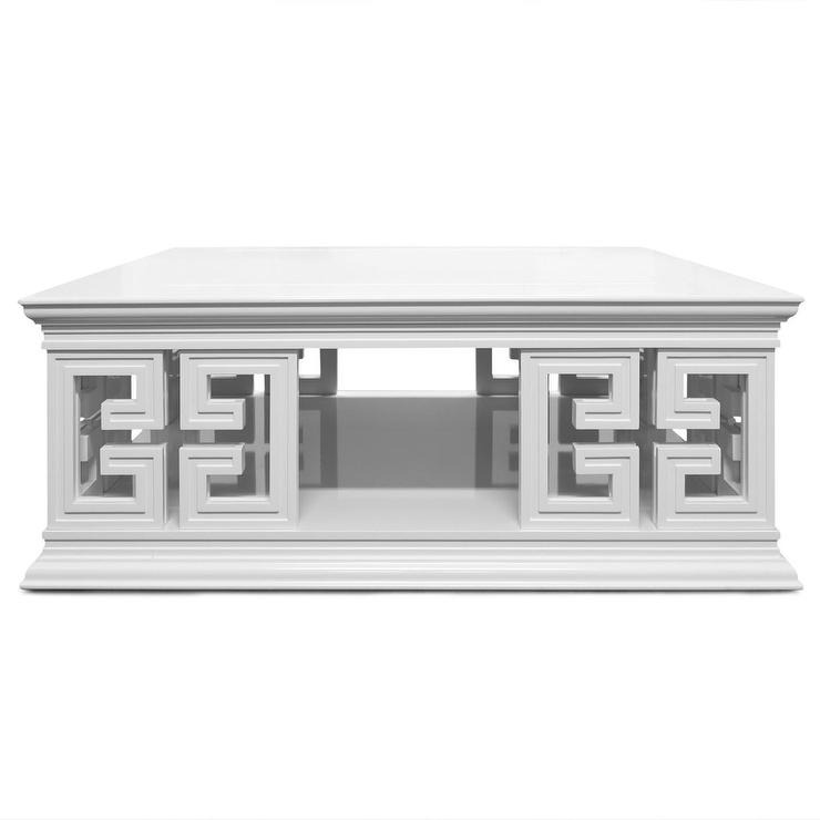 White Greek Key Base Cocktail Table
