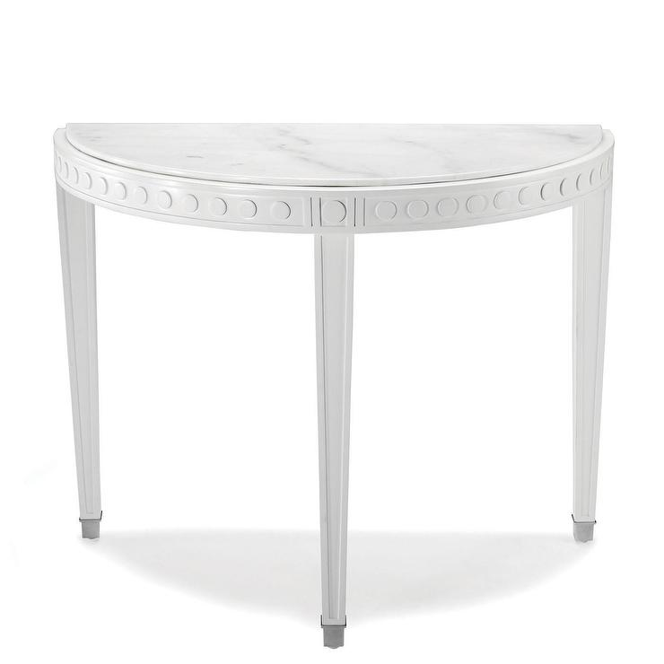 White marble etched shelved console White demilune console table