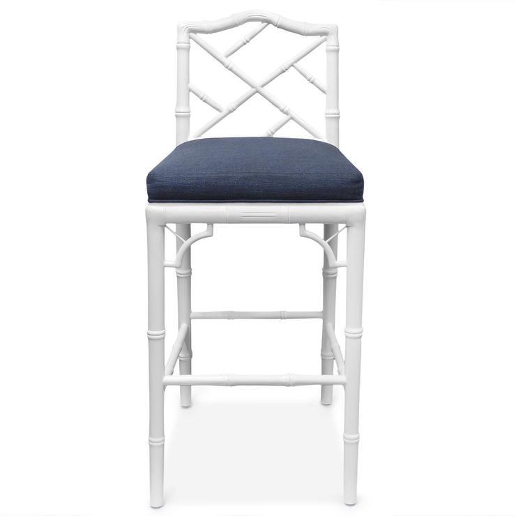 White Bamboo Inspired Navy Seat Barstool view full size