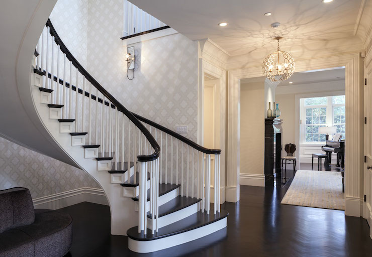 Dark handrail design ideas for Foyer staircase ideas