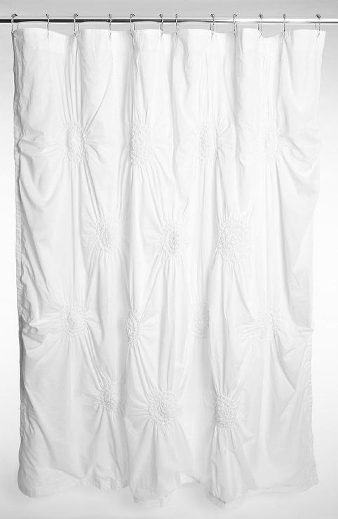 Nordstrom At Home Chloe Puckered White Shower Curtain