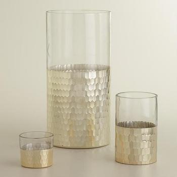 Silver Glass Nalina Hurricane Candleholders, World Market