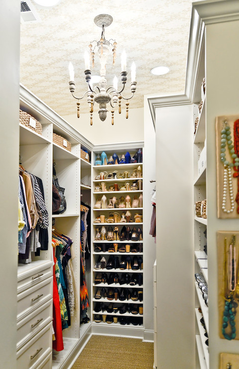 Wonderful Gorgeous Closet Features Wallpapered Ceiling Punctuated With Candle  Chandelier Over Wall To Wall Jute Carpeting.