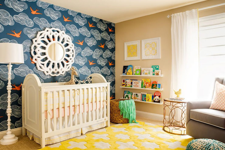 rug on carpet nursery. Mirror Over Crib Rug On Carpet Nursery