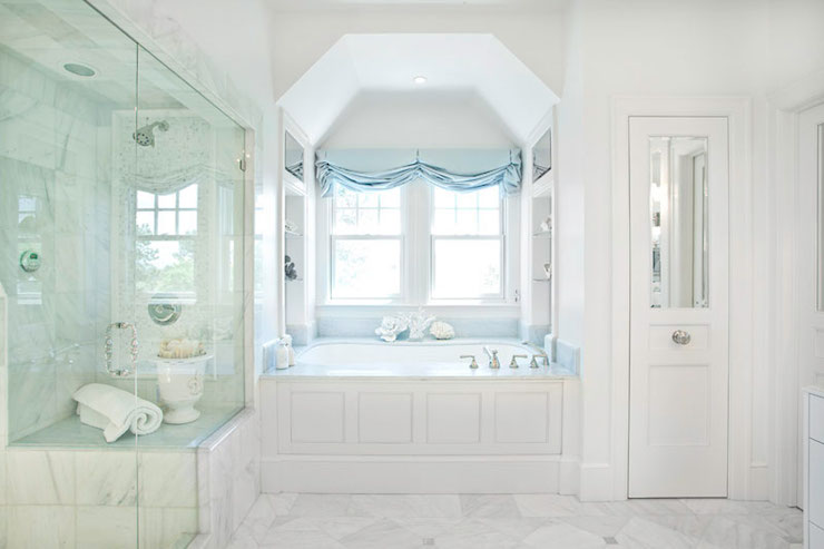 Blue Celeste Marble Transitional Bathroom Markay
