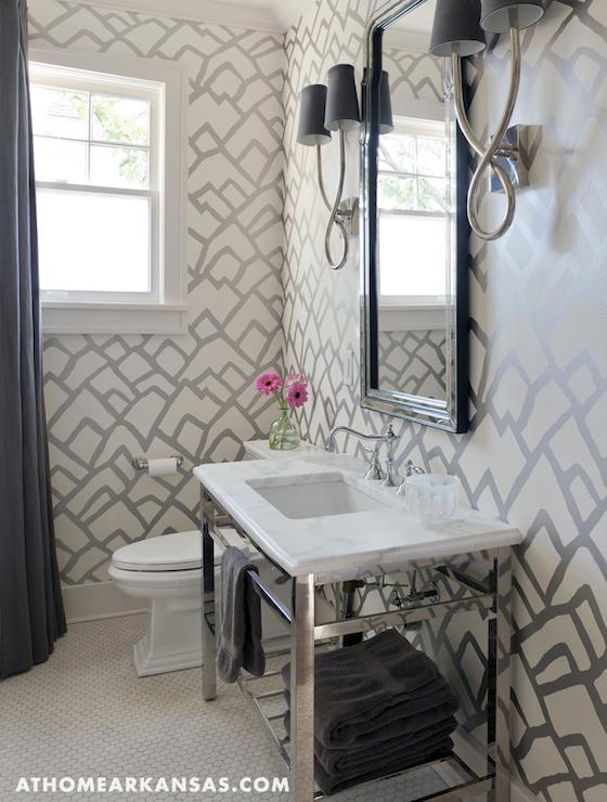 Schumacher Zimba Wallpaper Contemporary Bathroom At Home In Arkansas