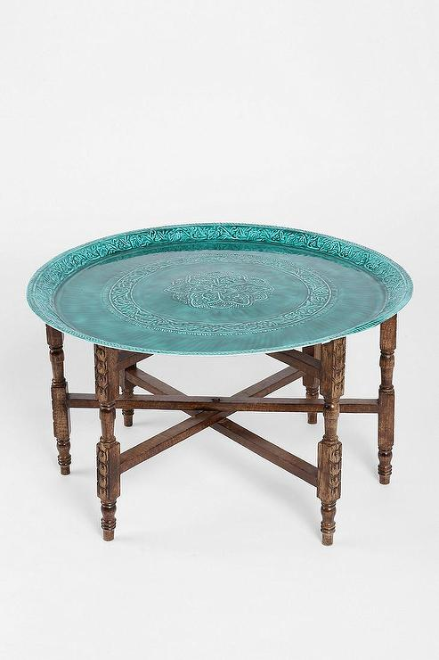 Magical Thinking Turquoise Top Folding Side Table